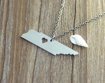 I heart Tennessee Necklace - Tennessee Pendant - State Necklace - State Charm - Map necklace - Map Jewelry