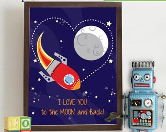 Rocket Ship Print, Nursery Print, Space print, Space ship print, to moon and back, Outspace print, Item 008