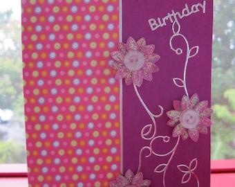 Handmade Card Happy Birthday with 3 Flowers