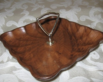 PRICE REDUCED - Mid-Century California Pottery 410 Square Brown Serving Plate with Goldtone Handle