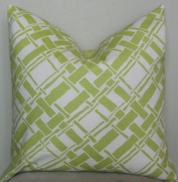 Green Geometric Throw Pillow : Lime Green Decorative Pillow Cover Geometric by SewWhatAlley