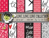 Digital Paper- LOVE LOVE LOVE Collection- For Scrapbooking, card and craft projects- 12 lovely sheets ready to use- Digital Download