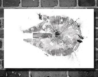 Star Wars vehicle movie poster minimalist poster star wars art Millennium Falcon wall art home decor