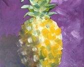 Original Pineapple Painting, Purple Background, Still Life, Popular, Modern