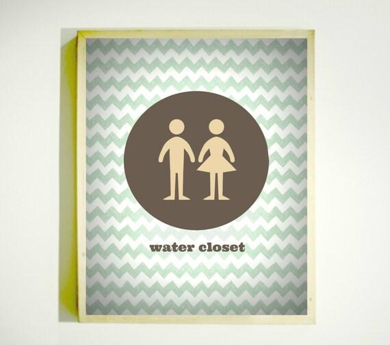 WATER CLOSET SIGN Downloadable Image Bathroom Art