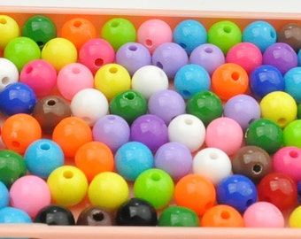 8MM Round Bubblegum Plastic Beads Chunky Gumball,MIX Bubble Gum Beads Bubblegum Beads Bottlecap-50PC.