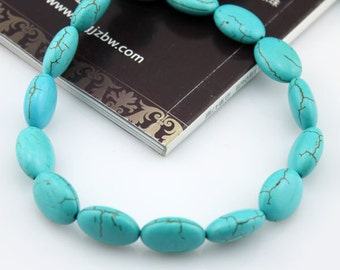 Oval Turquoise Beads,Turquoise Beads,Turquoise Stone,One Full Strand,Gemstone Beads---13*18mm---16 inches----approx 23 Pieces---BT001