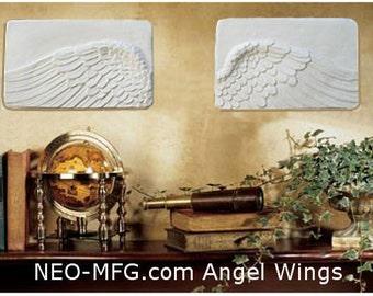 Angel Wings 2pc wall sculpture statue plaque www.Neo-Mfg.com Memorial