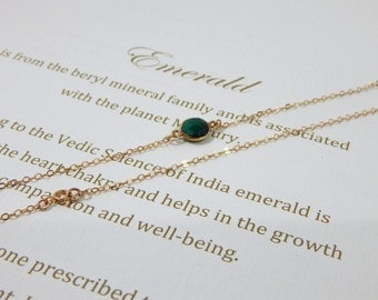 Natural Emerald Necklace, Tiny Delicate Genuine Emerald Necklace, May Birthstone