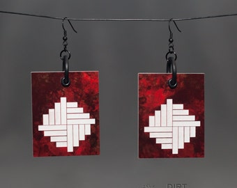 """Deep-Red Marble & White """"Steps"""" Laser Cut Rectangule Earrings UNIQUE Rave / Techno / Cyber / Industrial / Goth / Trance"""