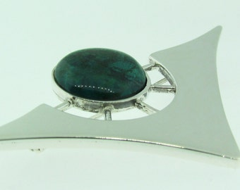 Vintage hand made Sterling Silver and Malachite brooch.