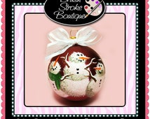 Xmas Snowmen Ornament - Hand Painted Glass Ball Ornament - Baby's Birth or Birthday or Christmas - Can Be Personalized