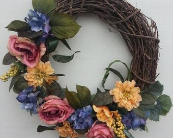 Grapevine Wreath-Silk Flower Wreath-Handmade Wreath-Home Decor