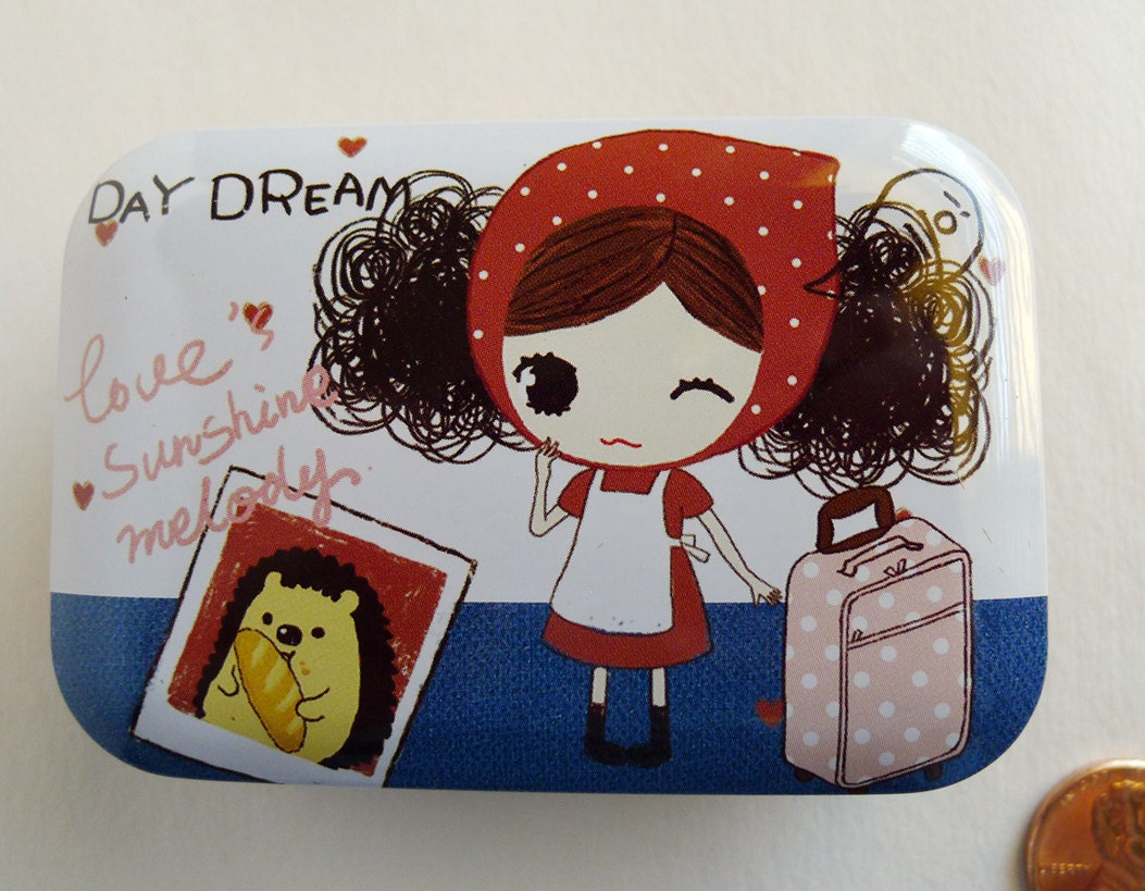 Travel in france girl cat small metal box hinged lid - Small tin girl ...