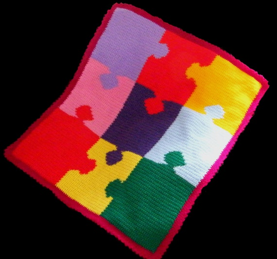 Jigsaw Blanket Knitting Pattern : Multi Coloured Jigsaw Puzzle Style Baby by Kellys2babywithlove