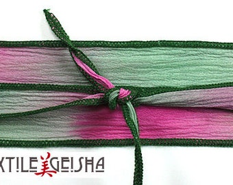 """SILK RIBBON TIES: 1/2""""x36"""" Handmade and Hand-dyed Silk Ribbon Ties for Necklaces, Wrap Bracelets & Embellishments"""