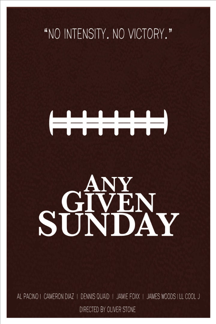 any given sunday minimalist poster