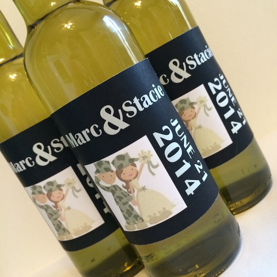 Items similar to mini wine bottle labels for military for Etsy mini wine bottle labels