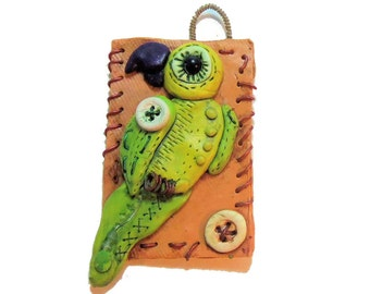Polymer Clay Green Parrot Wall Decor - tropical bird wall hanging - Parrot wall hanging