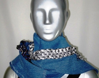 Up cycled patchwork denim  scarf with ruched mens tie detail