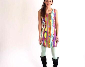 multicolor dress . stripes & polka dots dress . urban 90s dress . rayon dress . womens dress size medium large . hip hop street style dress
