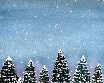 Snowy Forest,  winter solstice card, Christmas card, pack of holiday cards, nature christmas card, watercolor christmas, non-religious card