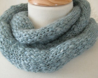 Infinity Scarf in Thunderstorm - Soft Handknit Cosiness (Blue/Grey) - *Sale*