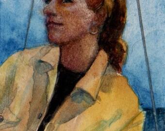 Sailing Portrait mini painting 3x2 Girl Sail Boat in Yellow Original Watercolor Art Miniature Belinda DelPesco