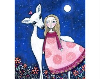 "Childrens wall print folk art A3 print painting animal art white deer girl magical dream series mixed media childrens decor 'Deer Spirit"""