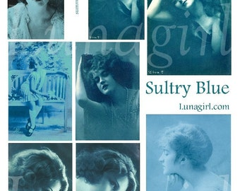SULTRY BLUE digital collage sheet flappers Edwardian women girls French postcards altered art ephemera tags romantic vintage images DOWNLOAD