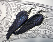 Black as Night Sterling Ear wires Oil Slick raven wings crow earrings gothic jewelry