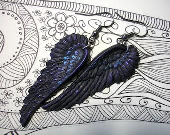 Black as Night Oil Slick raven wings crow earrings gothic jewelry