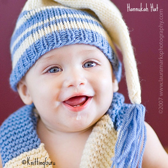 Knit Baby Hat Pattern Tutorial Stocking Cap Pixie Elf Christmas
