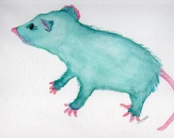 Possum Painting, Watercolor Painting, Opossum Wall Art, Original watercolor painting of teal possum,  funny animal art