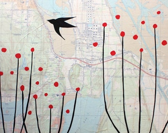 Anacortes - Original 15 x 15 Painting - Paper airplane and flower art