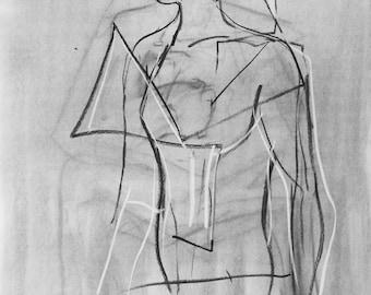 18X24 Original Charcoal Figure Drawing