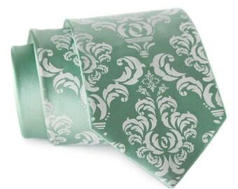 Dusty shale Damask necktie. Mint silk tie, ice blue print. Silkscreened men's wedding tie. 100% silk, choose standard or narrow cut size.