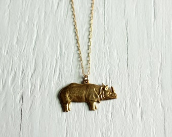 Rhino Animal Necklace with 14kt Gold Filled Minimal Jewelry
