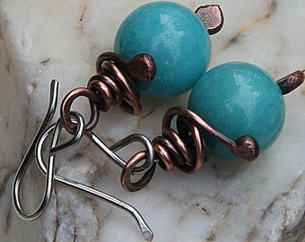 Turquoise Earrings Copper Earrings Copper Jewelry