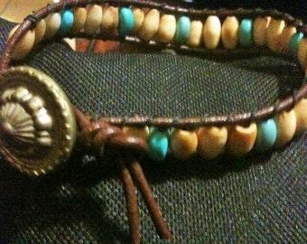 Large Bone & Turquoise Wrap Bracelet with Antique Button
