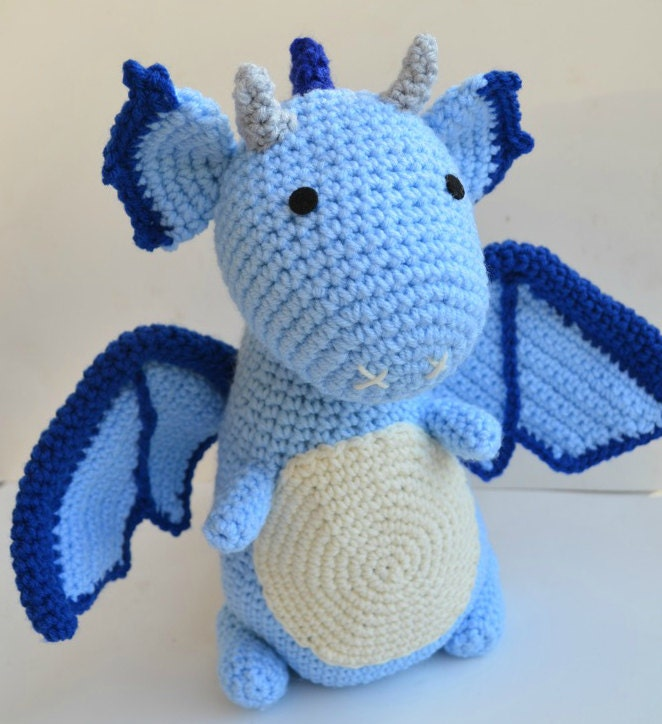 Free Crochet Stuffed Dragon Pattern : Dragon Amigurumi Plush Blue Crochet