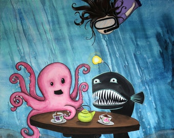 May I Join Your Tea Party? -  8x10 Art Print  - Ocotopus and Angler having Tea with Little Girl - Art by Marcia Furman