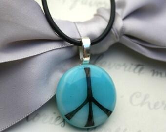 Glass peace pendant
