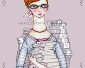 "Library book art print, ""Book Love"""