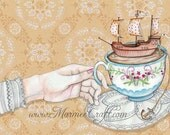 "MarmeeCraft art print- ""Once Upon a Tea Time"""