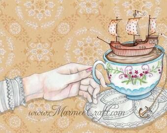 "MarmeeCraft art print- ""Once Upon a Tea Time"""