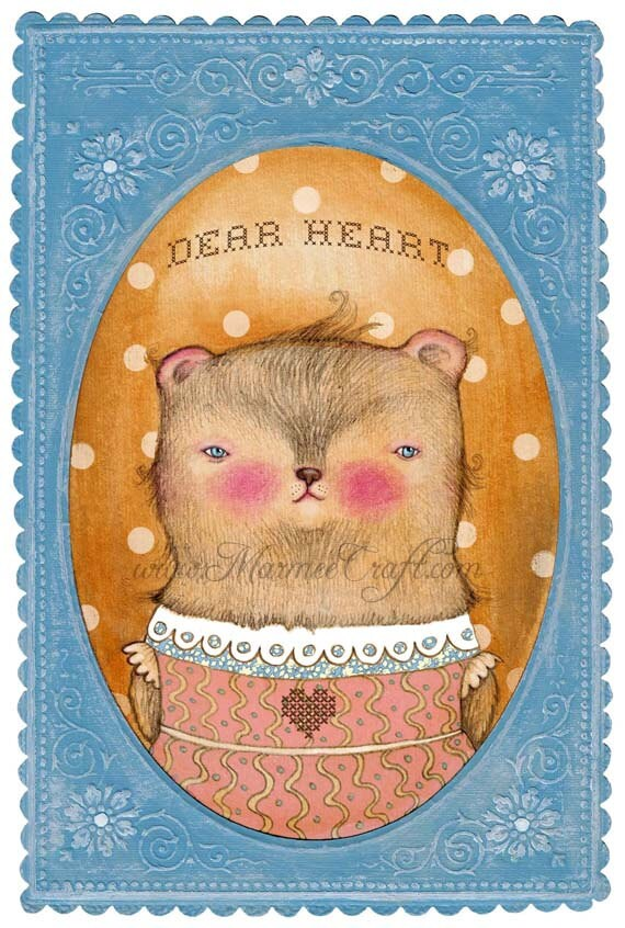 "Baby bear art print, ""Dear Heart"""