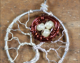 Little Brown Bird Nest in Tree of Life Pendant Silver Wire Wrap Jewelry Nest Tree Mother's Day Mother's Jewelry Family Tree Momma Bird RTS
