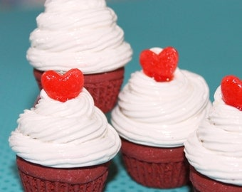 large kawaii red velvet cupcake with frosting food jewelry