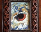 Owl Gaze Framed Oil Painting - PetPortraitsbyNC